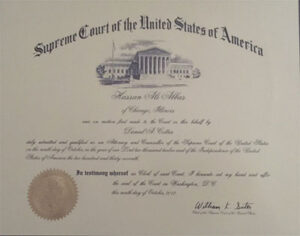 Supreme Court of the United States of America diploma