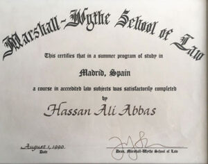 Marshall Mythe School of Law diploma
